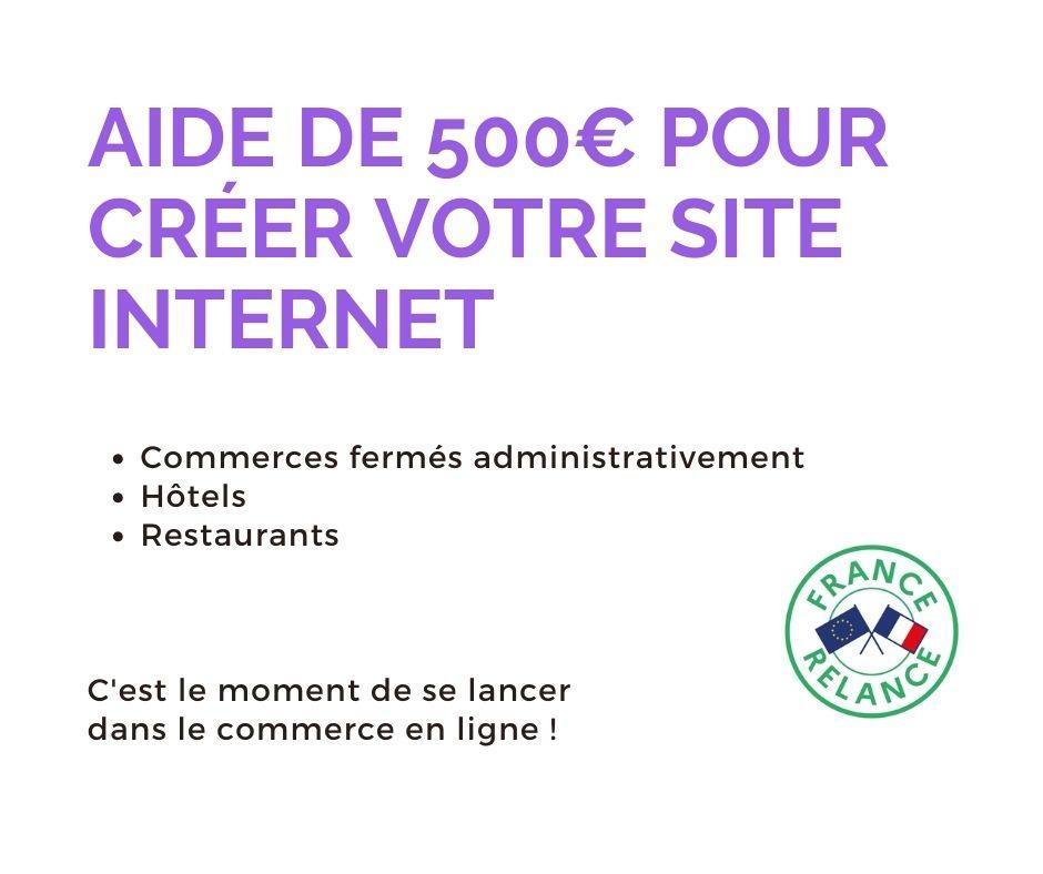 Aide de 500€ pour créer votre site internet